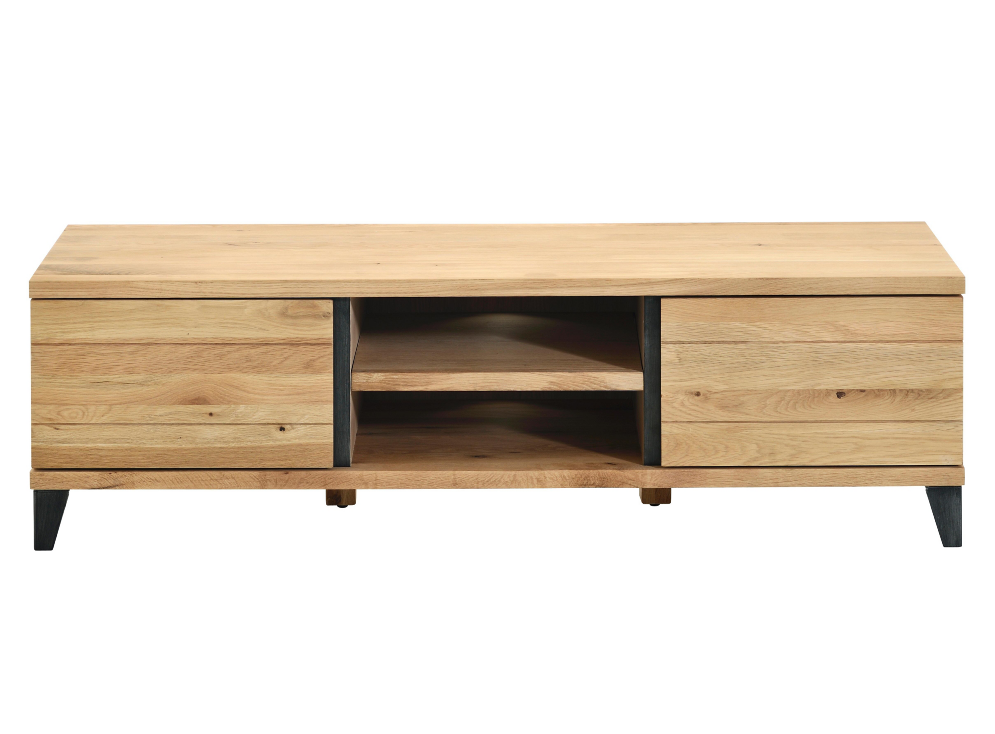 Meuble tv hifi gris chene oak fly for Meuble bas tele