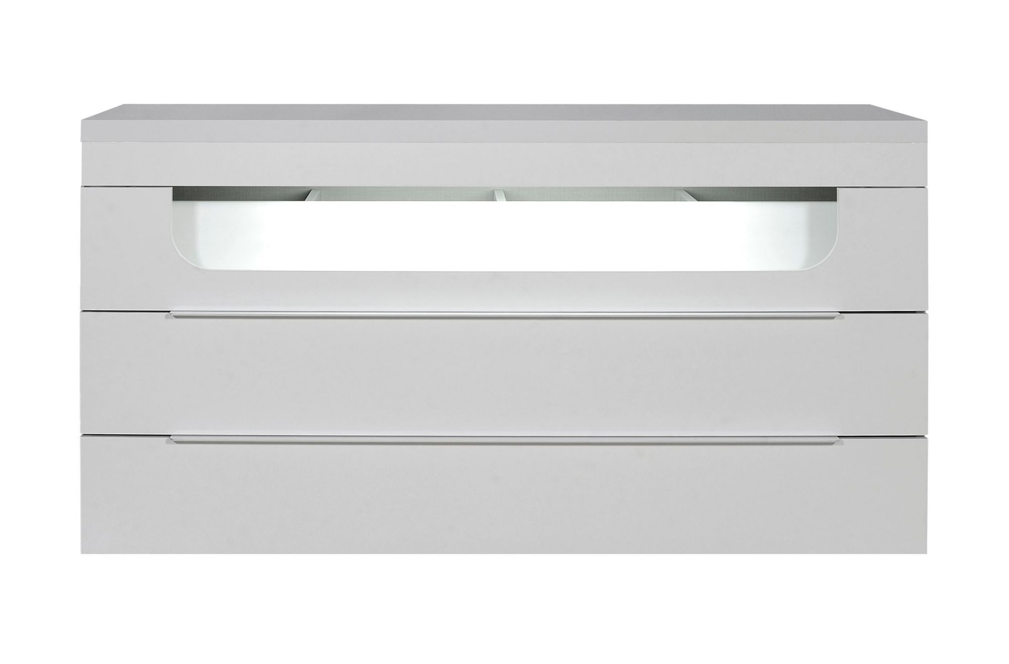 Commode 3 tiroirs leds laque blanc fly