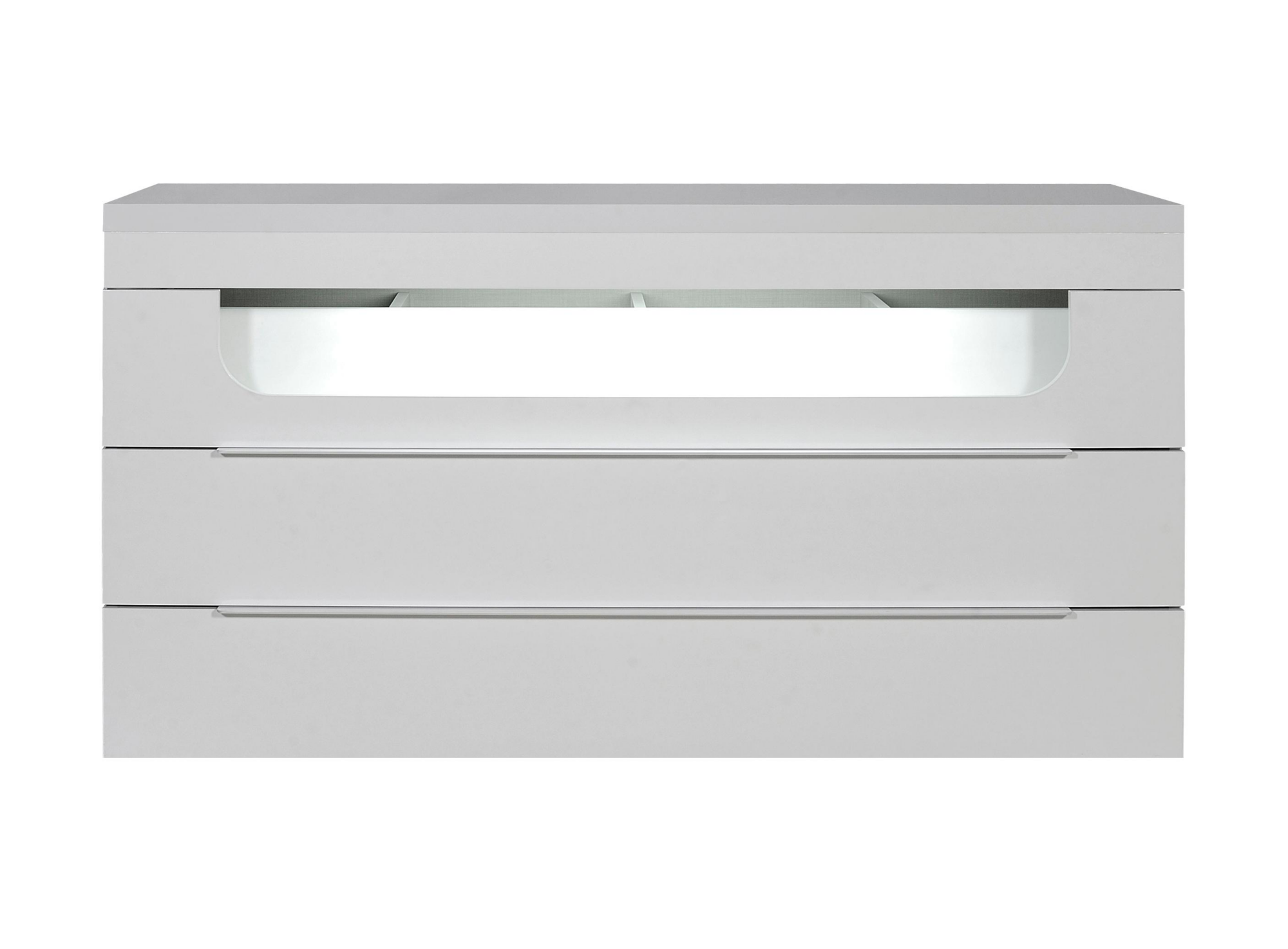 Commode 3 tiroirs leds laque blanc fly - Commode 6 tiroirs blanc laque ...
