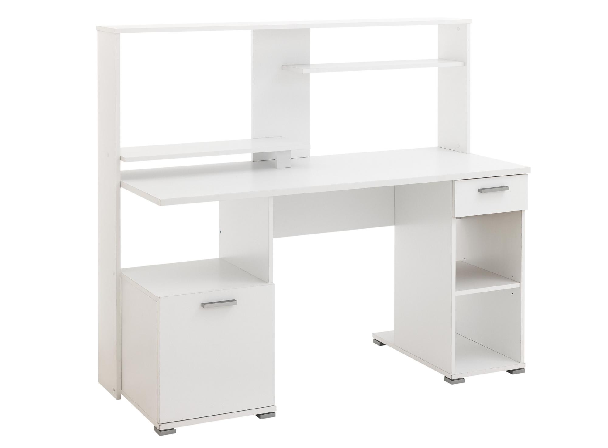 bureau informatique 1 p 1 t l144 cm blanc gris fly. Black Bedroom Furniture Sets. Home Design Ideas