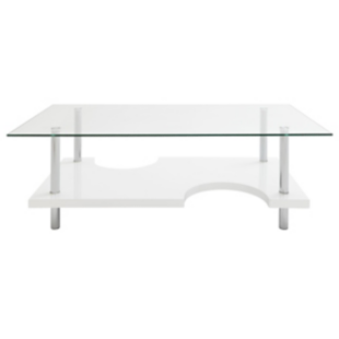 FLY-table basse blanc/verre