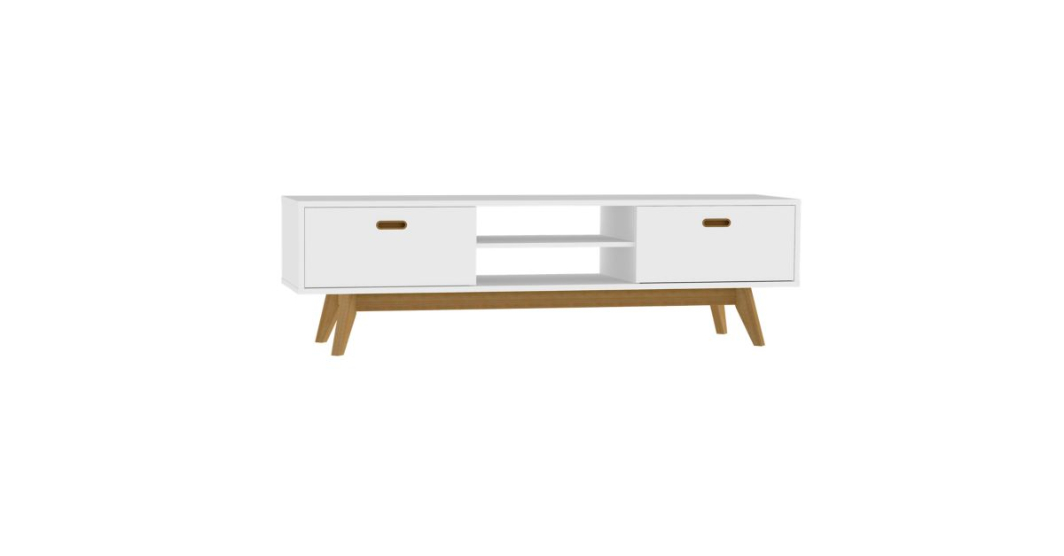 Meuble tv 2 tiroirs 2 niches blanc chene fly - Meuble bibliotheque fly ...