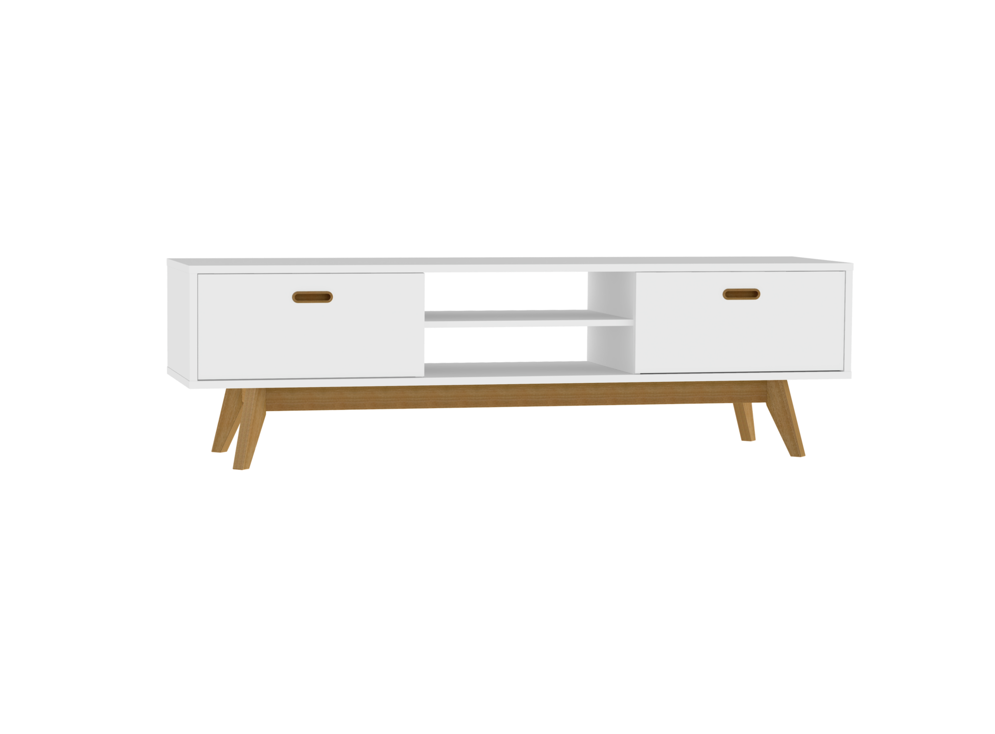 Meuble tv 2 tiroirs 2 niches blanc chene fly for Meuble tele noir et blanc