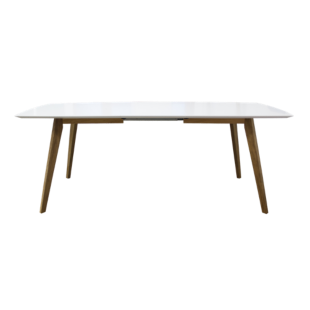 FLY-table rectangulaire + allonges blanc/chene