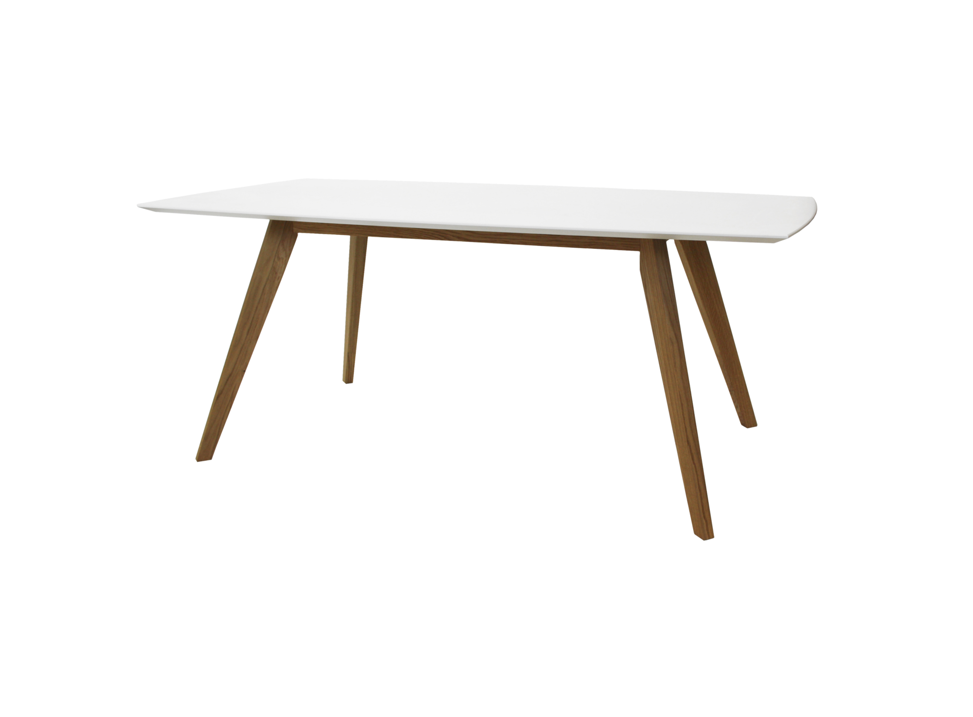 Table rectanculaire blanc chene fly - Table bois pied blanc ...