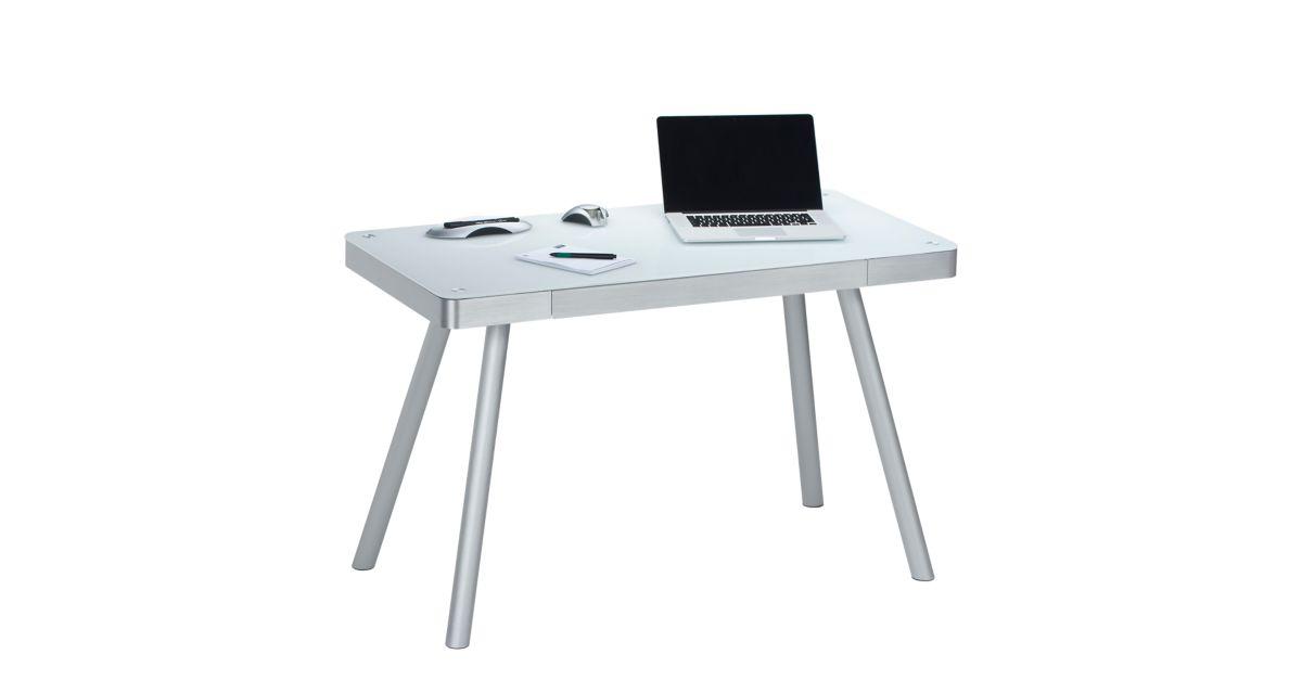 bureau plateau verre blanc fly. Black Bedroom Furniture Sets. Home Design Ideas