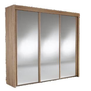 FLY-armoire 3 portes miroir coloris chene