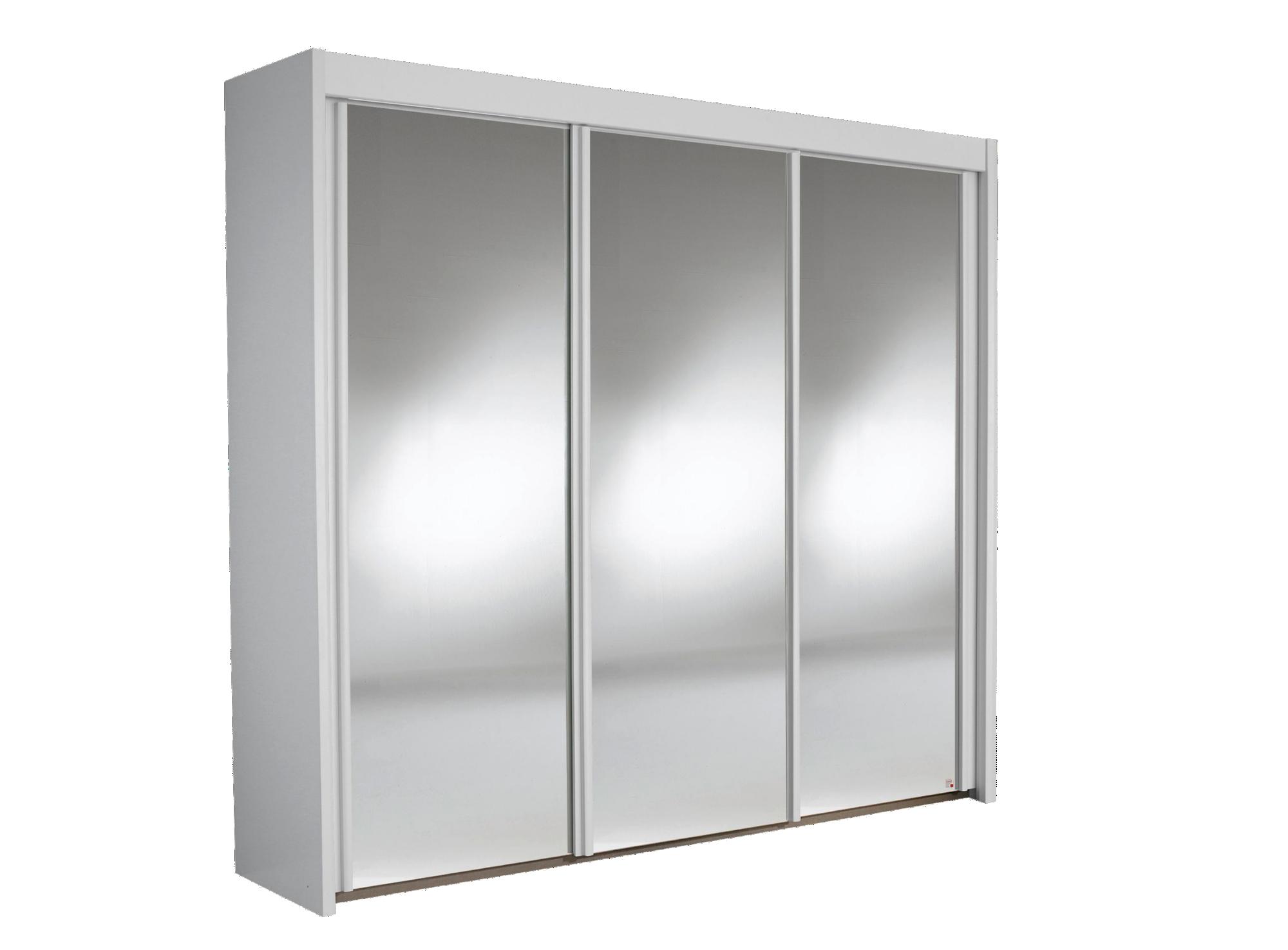 Armoire 3 portes miroir coloris blanc fly for Armoire porte miroir