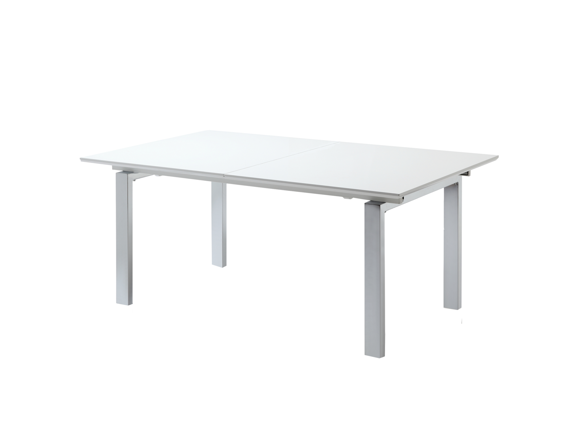 Table rectangulaire allonges laquee blanc fly for Miroir rectangulaire fly