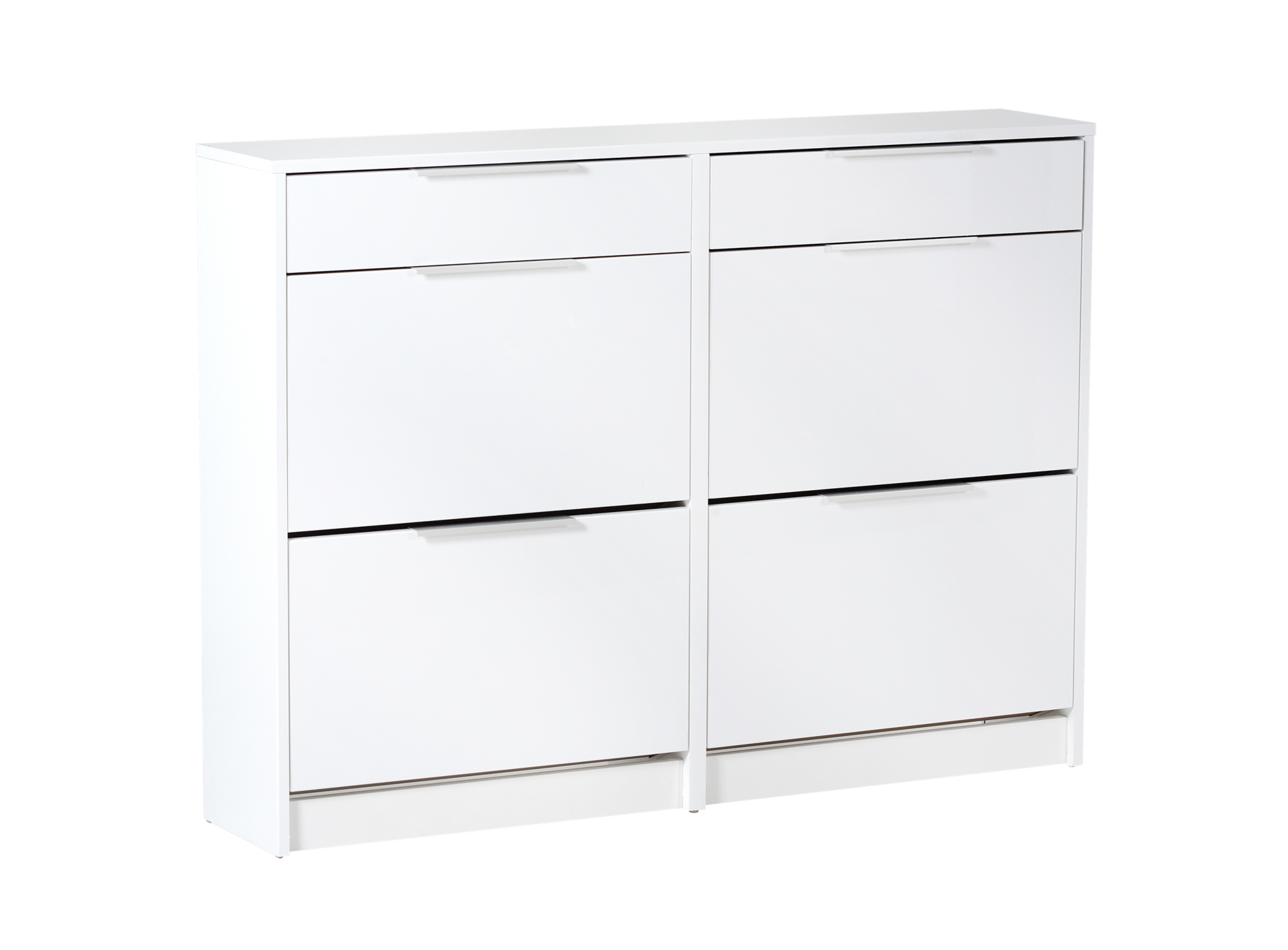 meuble chaussures 4 abattants 2 tiroirs blanc meuble fly. Black Bedroom Furniture Sets. Home Design Ideas