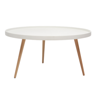 FLY-table basse blanche et hetre
