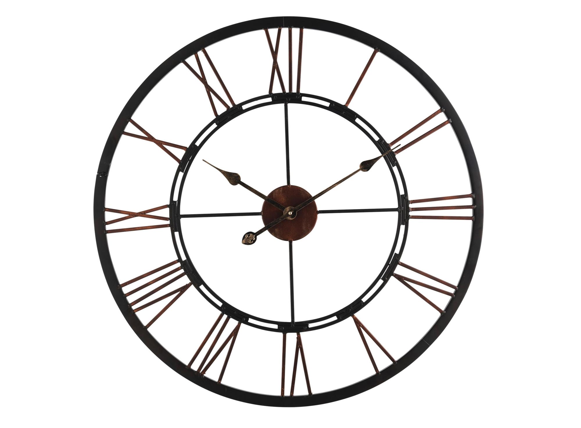 Horloge en fer noir horloge d co murale - Horloge murale grande taille ...