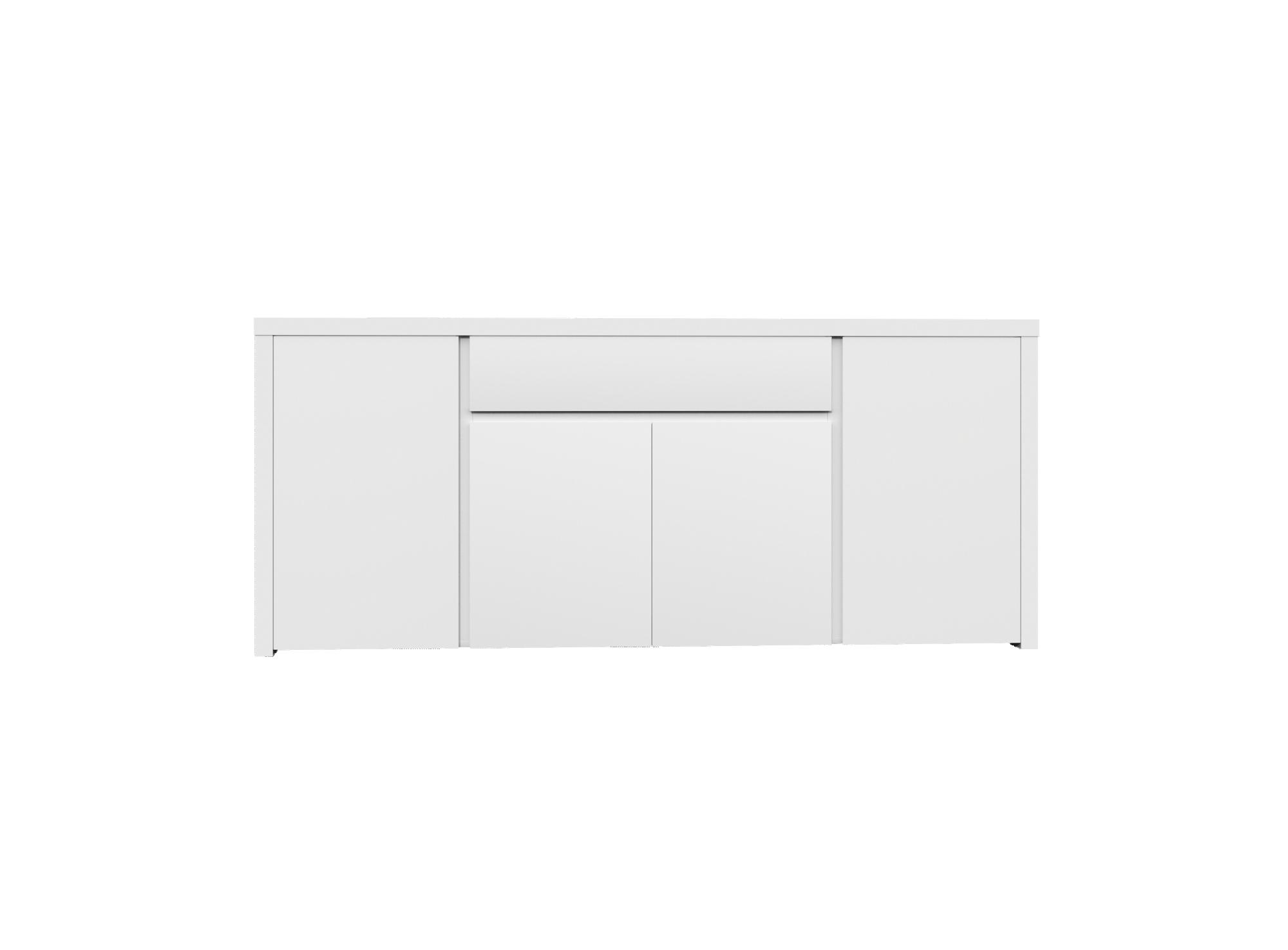 Bahut bas 4 portes 1 tiroir laque blanc bahut salon for Meuble 4 portes laque blanc