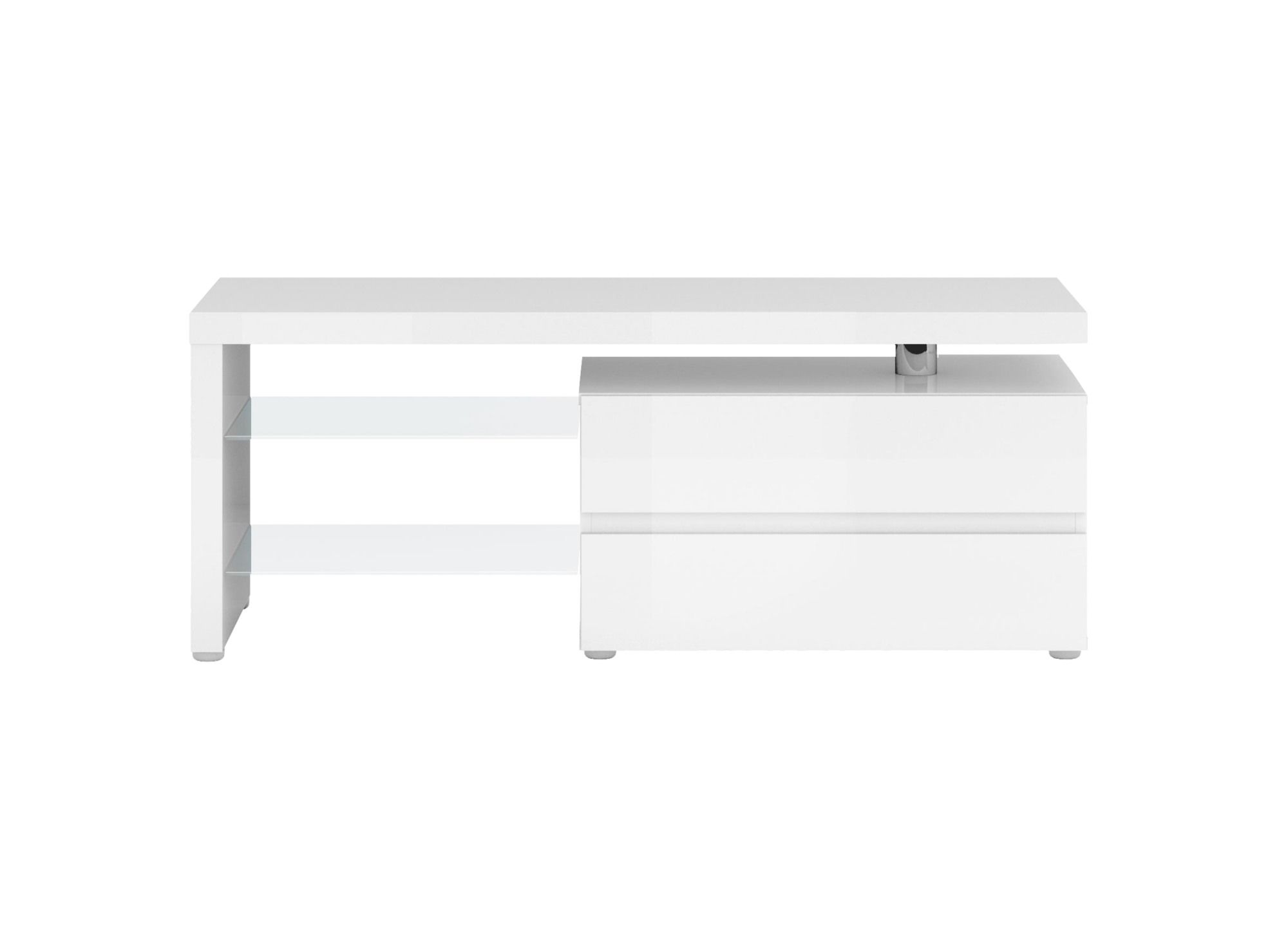 Mtv 2 tiroirs laque blanc meuble tv salon s jour for Meuble sejour blanc laque