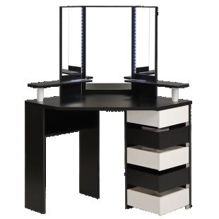 FLY-coiffeuse 5 tiroirs blanc/noir