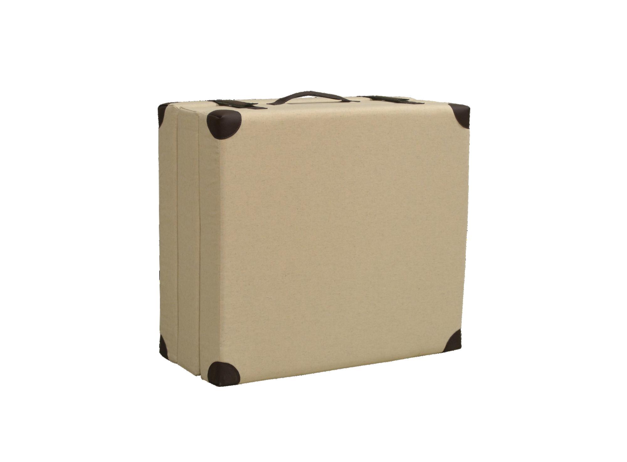 Lit d'appoint beige/choco pouf valise constitue de 3 plis mousse depl ...
