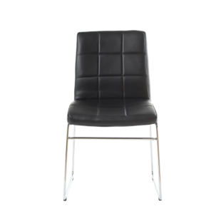 FLY-chaise chrome/assise noir