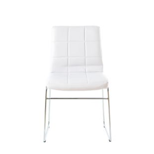 FLY-chaise chrome/assise blanc