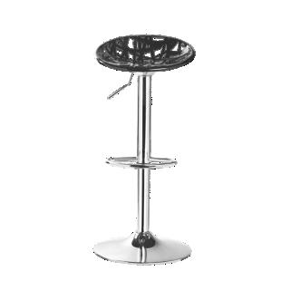 FLY-tabouret de bar assise noire pieds chrome