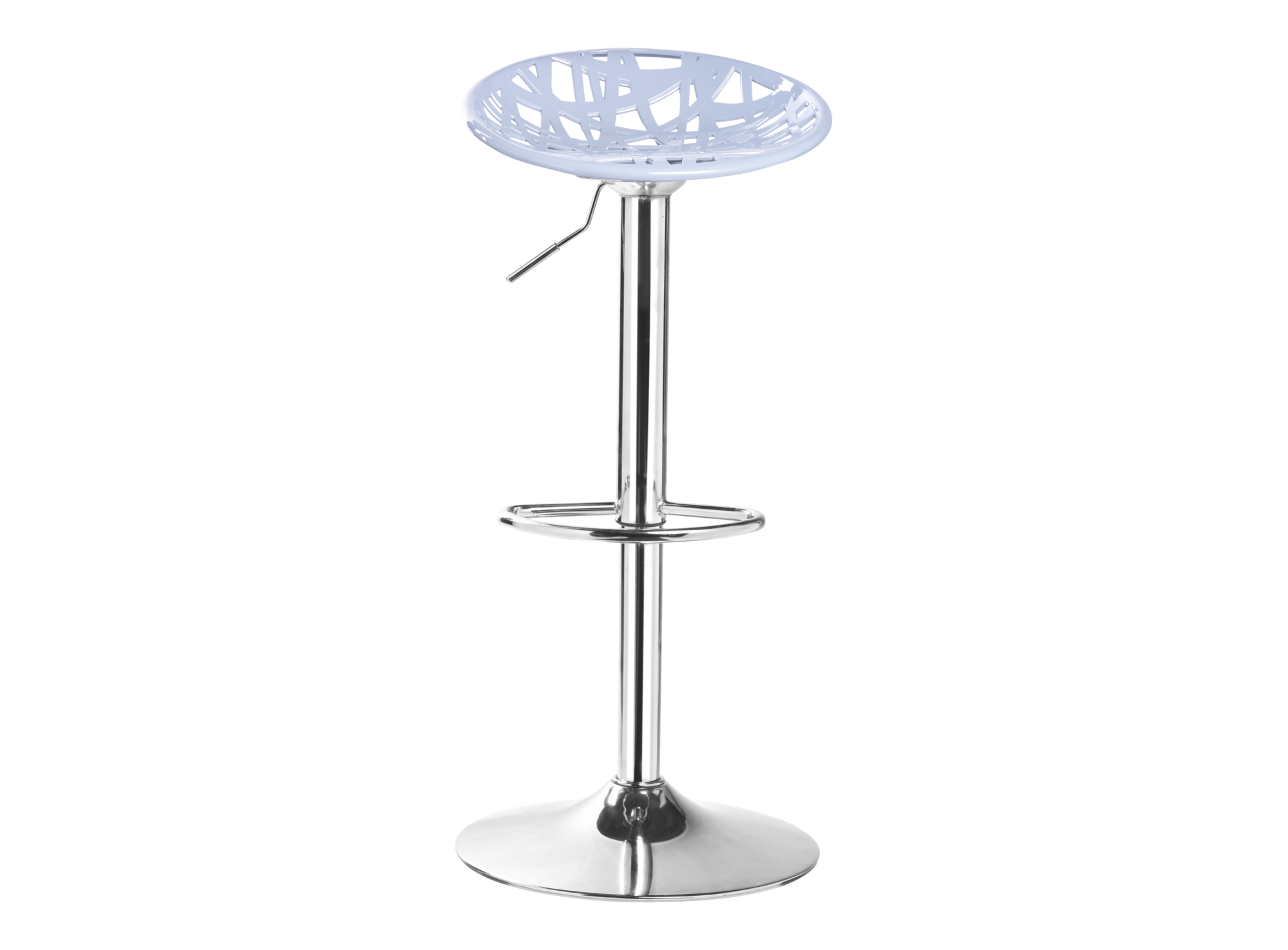 Tabouret de bar assise grise pieds chrome tabouret for Tabouret cuisine fly
