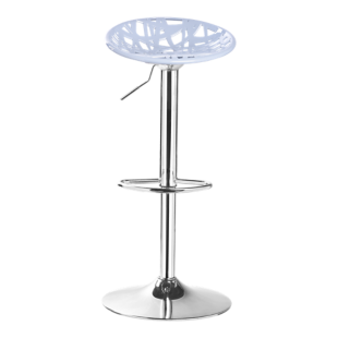 FLY-tabouret de bar assise grise pieds chrome