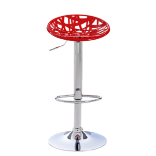 FLY-tabouret de bar assise rouge pieds chrome