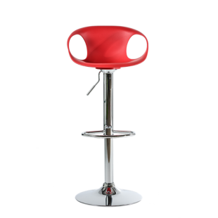 FLY-tabouret de bar chrome/assise rouge