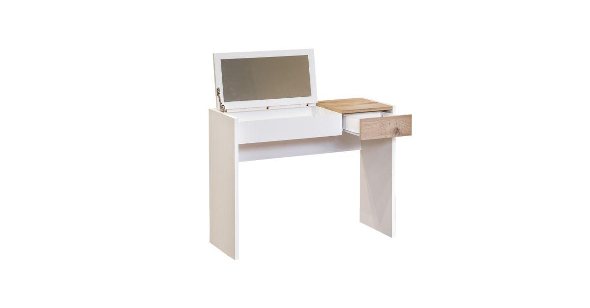 Console coiffeuse blanc chene console salon s jour - Consoles meubles fly ...