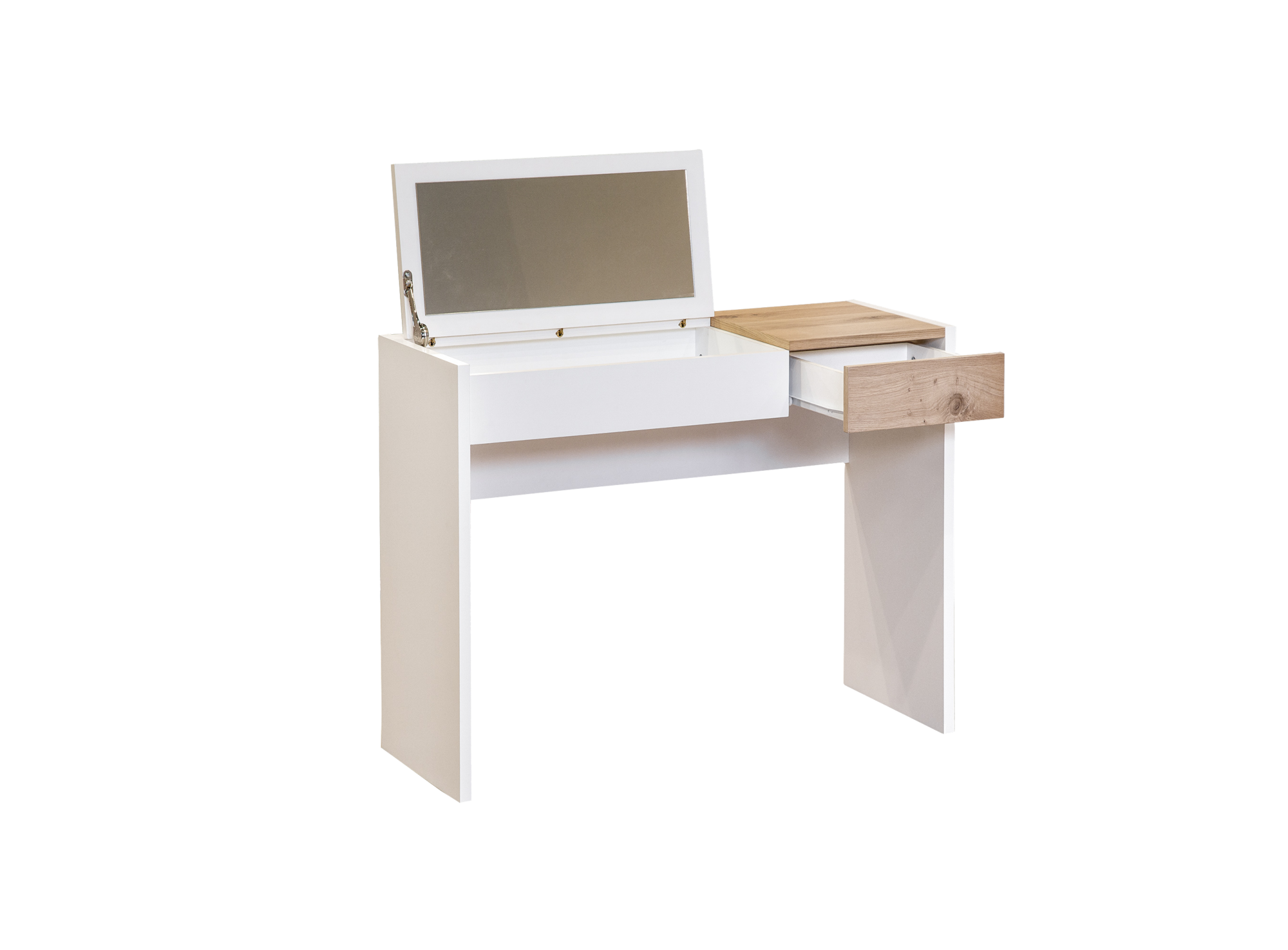 Console coiffeuse blanc/chene | Fly
