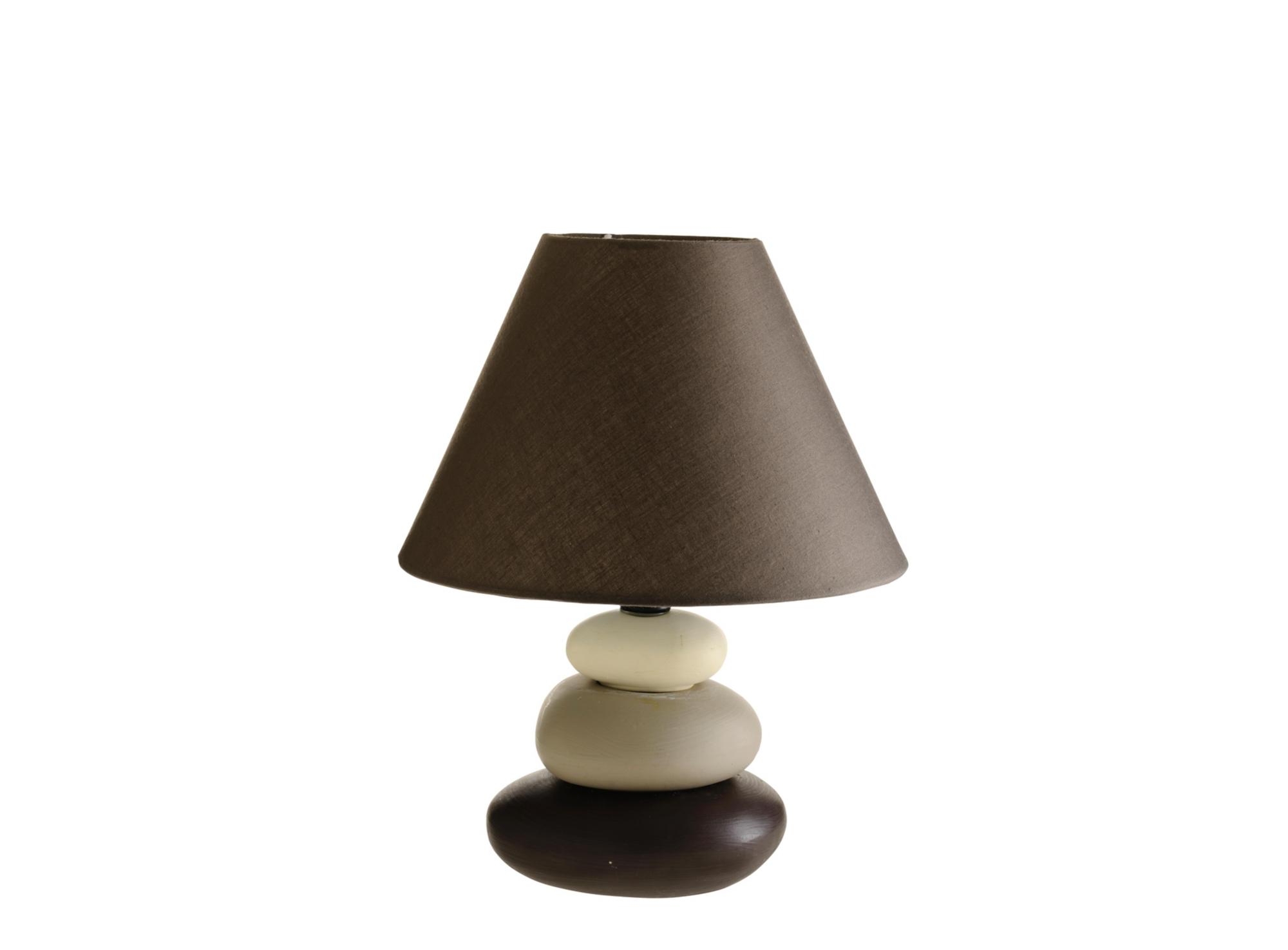 Lampe a poser h26cm - abat jour en coton, coloris chocolat pied en ce ...