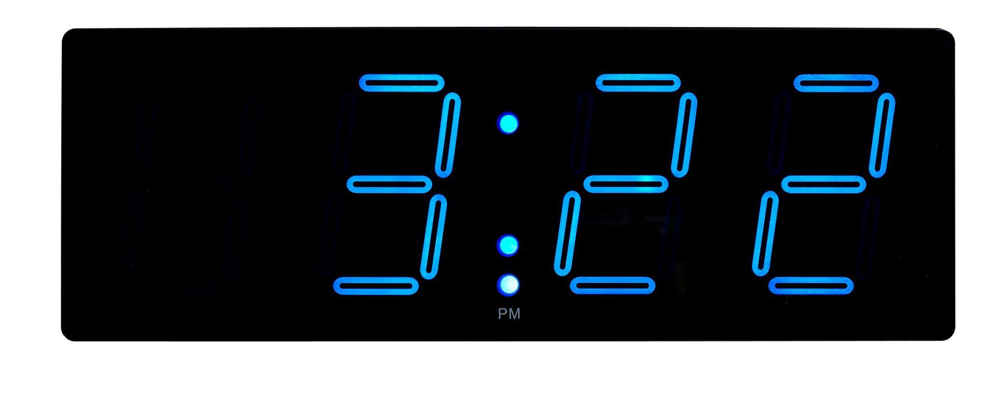 horloge murale digitale 51 6x18 cm noir bleu