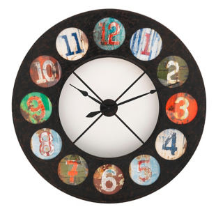 FLY-horloge en fer d119cm gris/multicolore