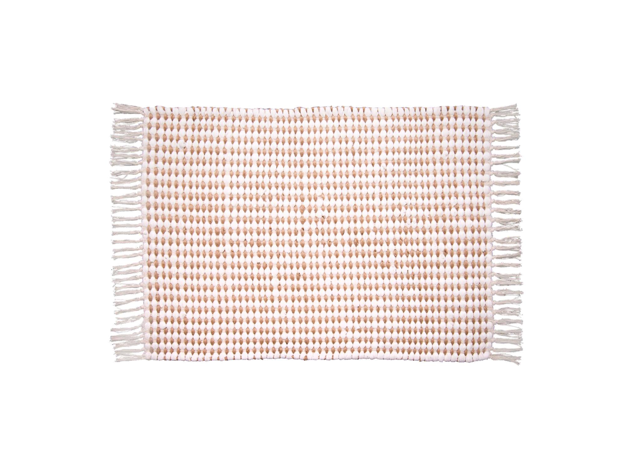 Tapis tufte main coloris naturel/blanc 50% jute, 50% coton dos 100% c ...