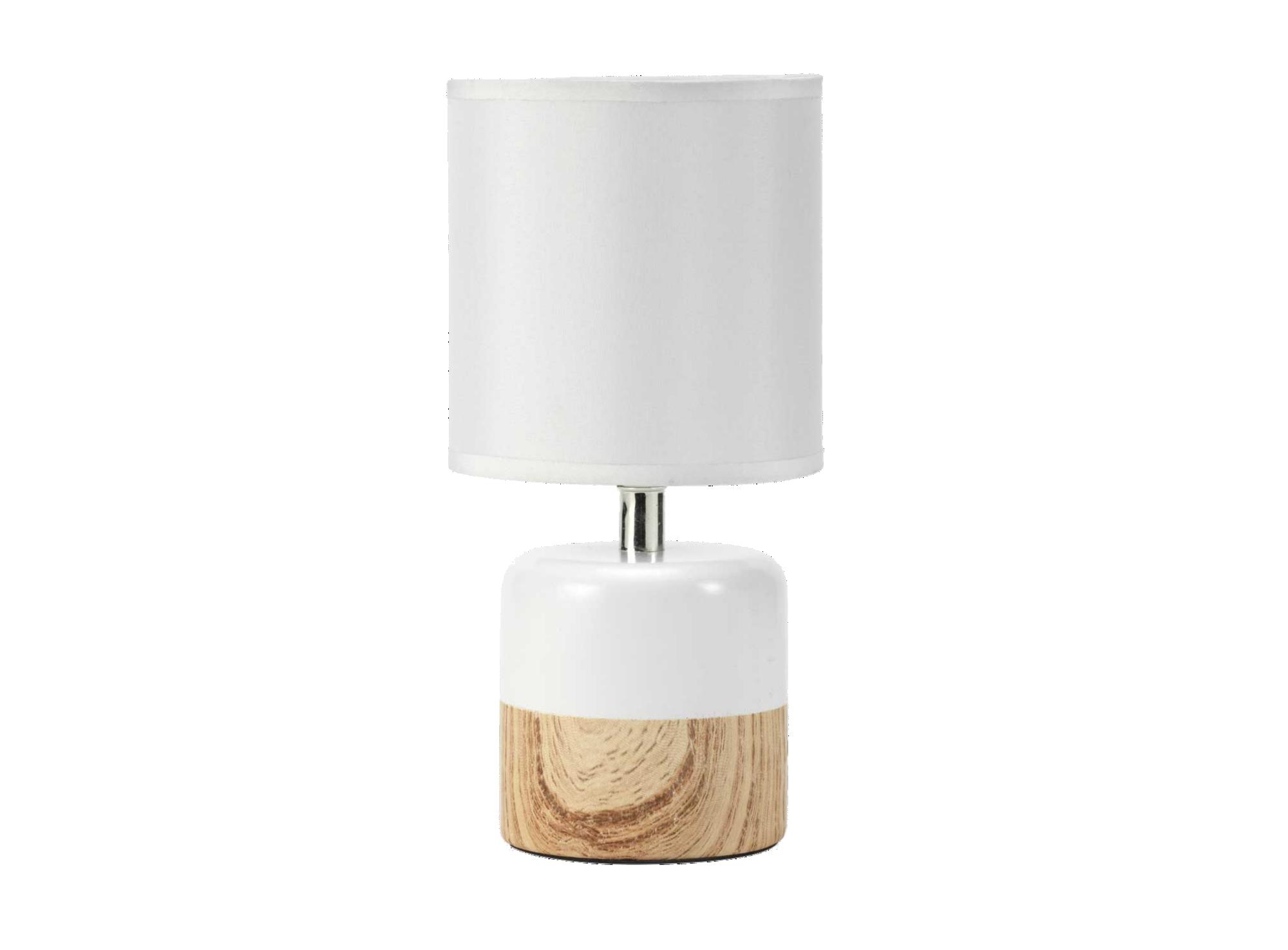 Lampe d13h27 blanc/naturel pied :  en ceramique, ceramique imitation  ...