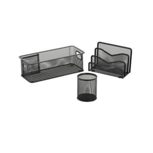 FLY-lot de 3 rangements de bureau acier noir