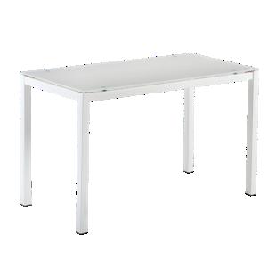FLY-table extensible l110 a 170cm blanc/verre gris