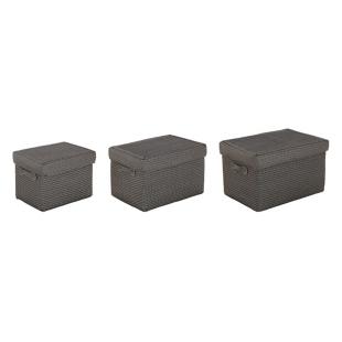 FLY-lot de 3 paniers+couvercle gris