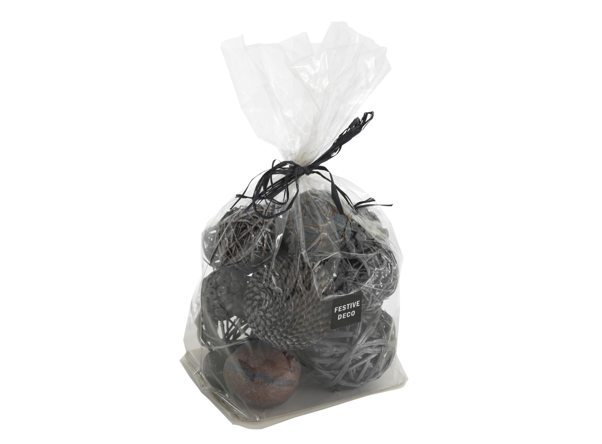 Lot de 24 boules decoratives en fibres vegetales et rotin teinte colo ...