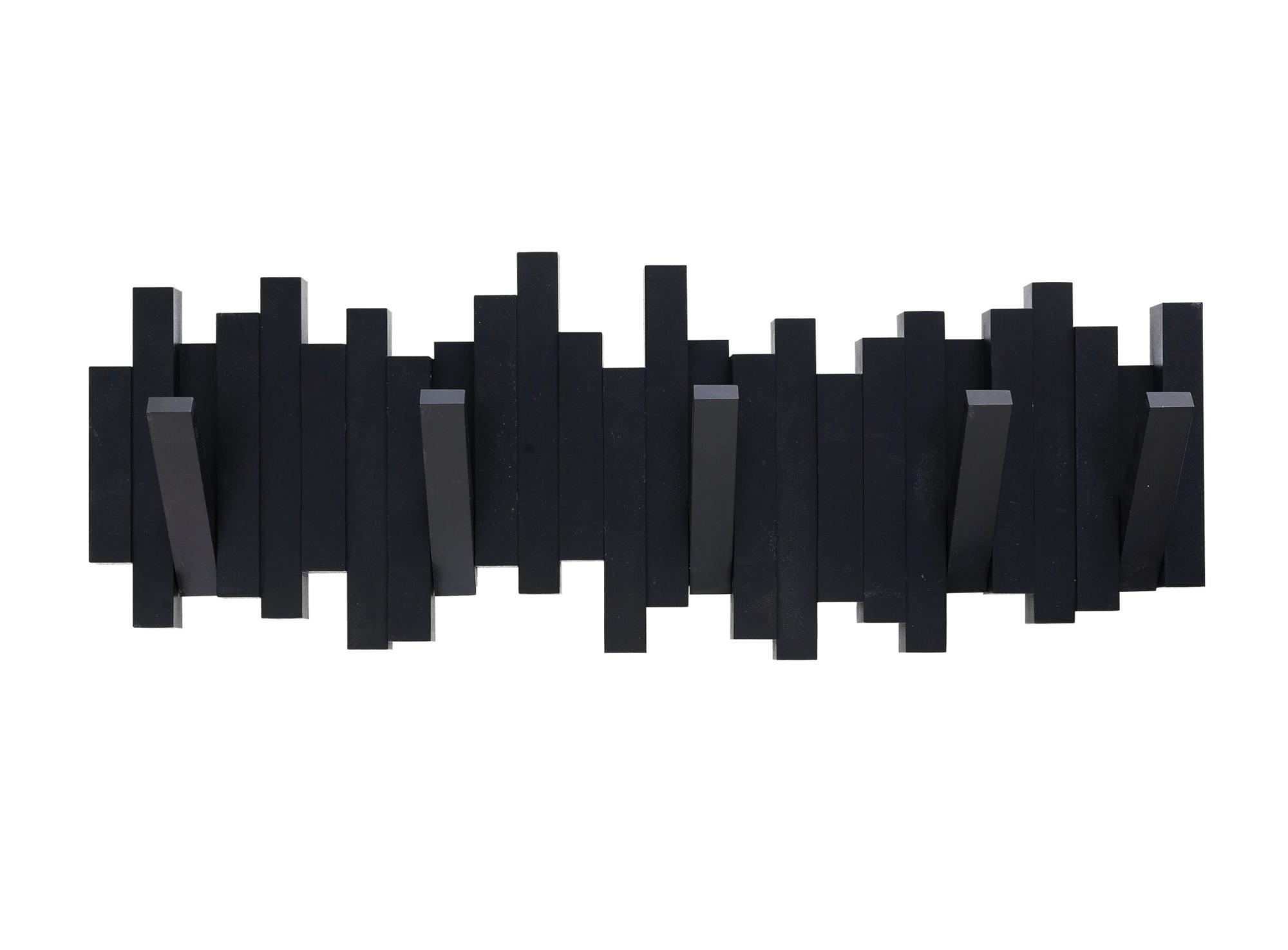 patere murale 5 crochets noir fly. Black Bedroom Furniture Sets. Home Design Ideas