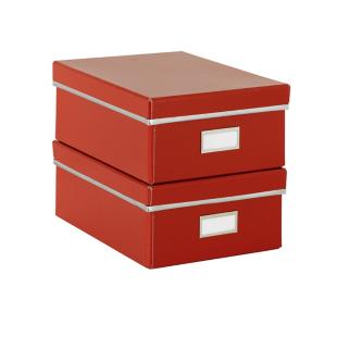FLY-lot de 2 boites de rangement en carton rouge
