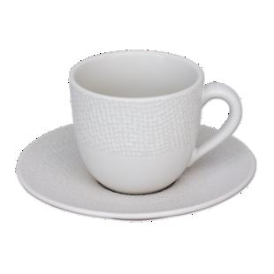 FLY-tasse cafe 8cl et soucoupe en gres blanc
