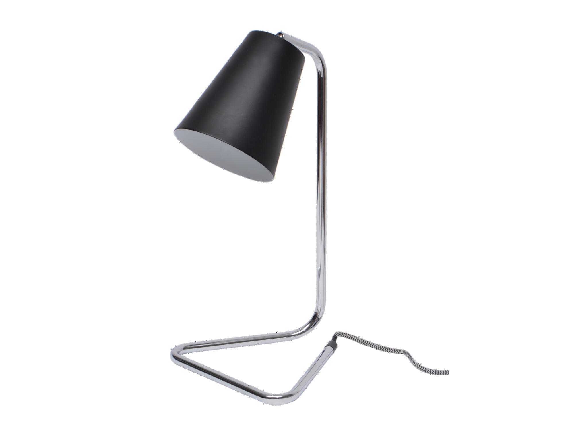 Lampe a poser h41cm socle et bras en metal finition chrome. abat jour ...