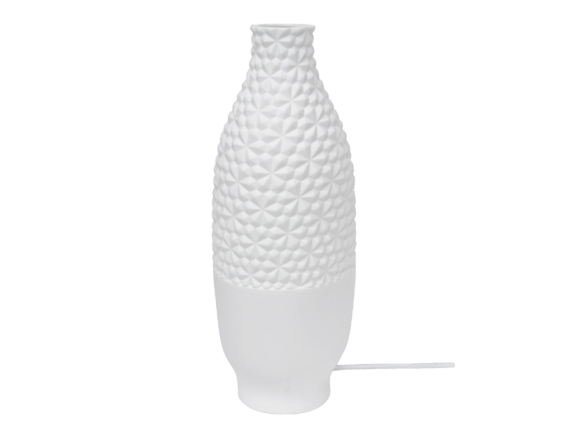 Lampe a poser h38.5cm en porcelaine coloris blanc, vendue avec electr ...