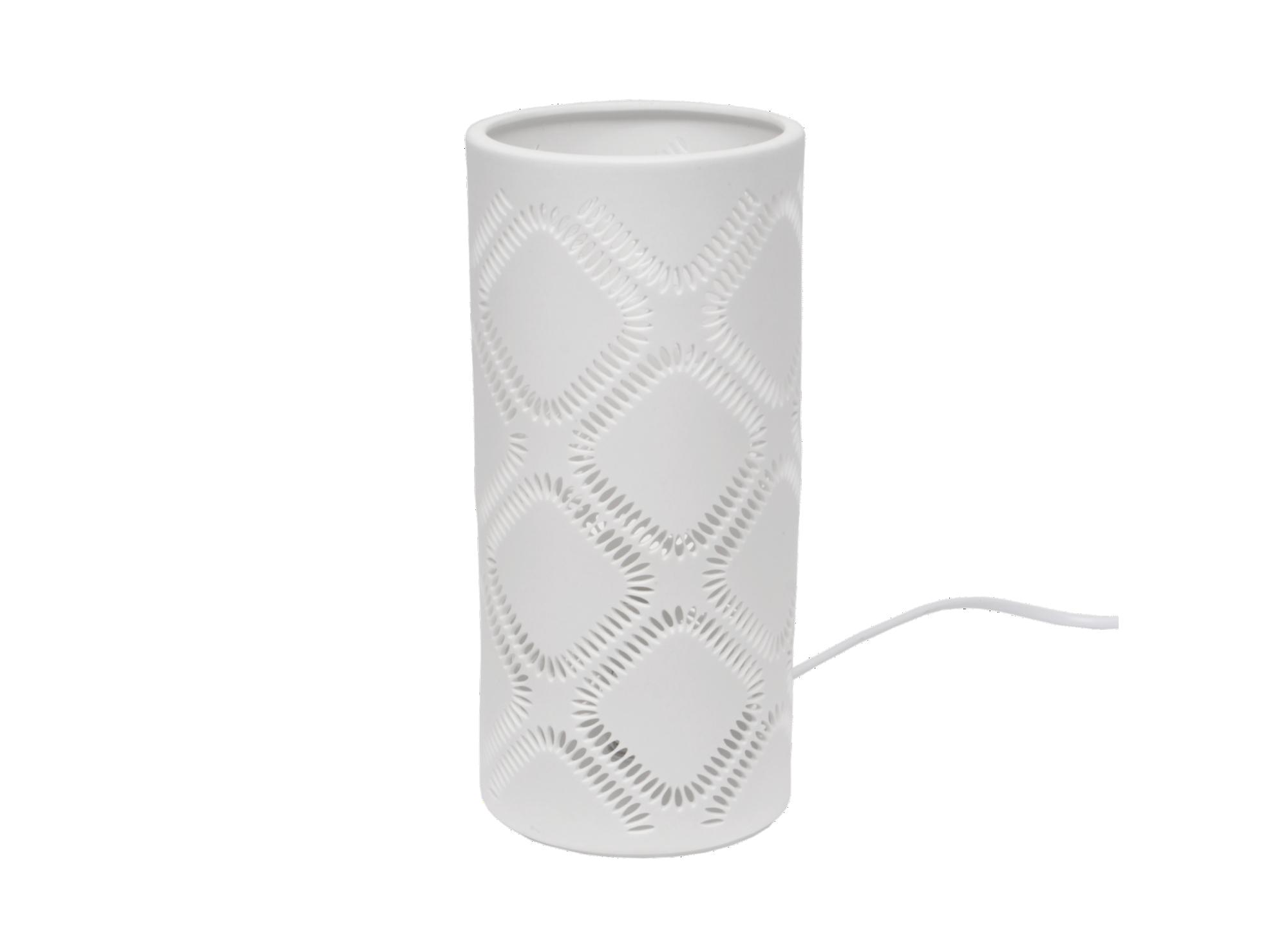 Lampe a poser h24cm blanche forme tube en porcelaine coloris blanc fi ...