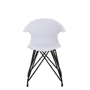 FLY-chaise coque blanche pieds acier coloris noir