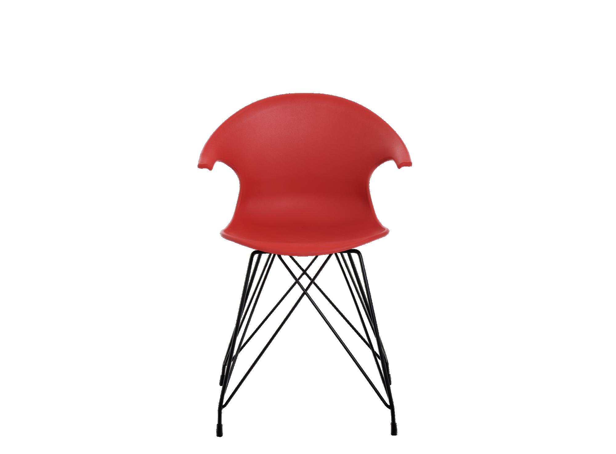 chaise coque rouge pieds acier coloris noir fly. Black Bedroom Furniture Sets. Home Design Ideas