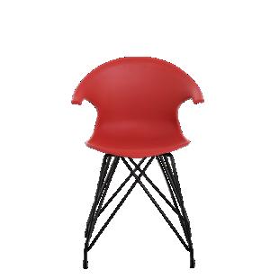 FLY-chaise coque rouge pieds acier coloris noir