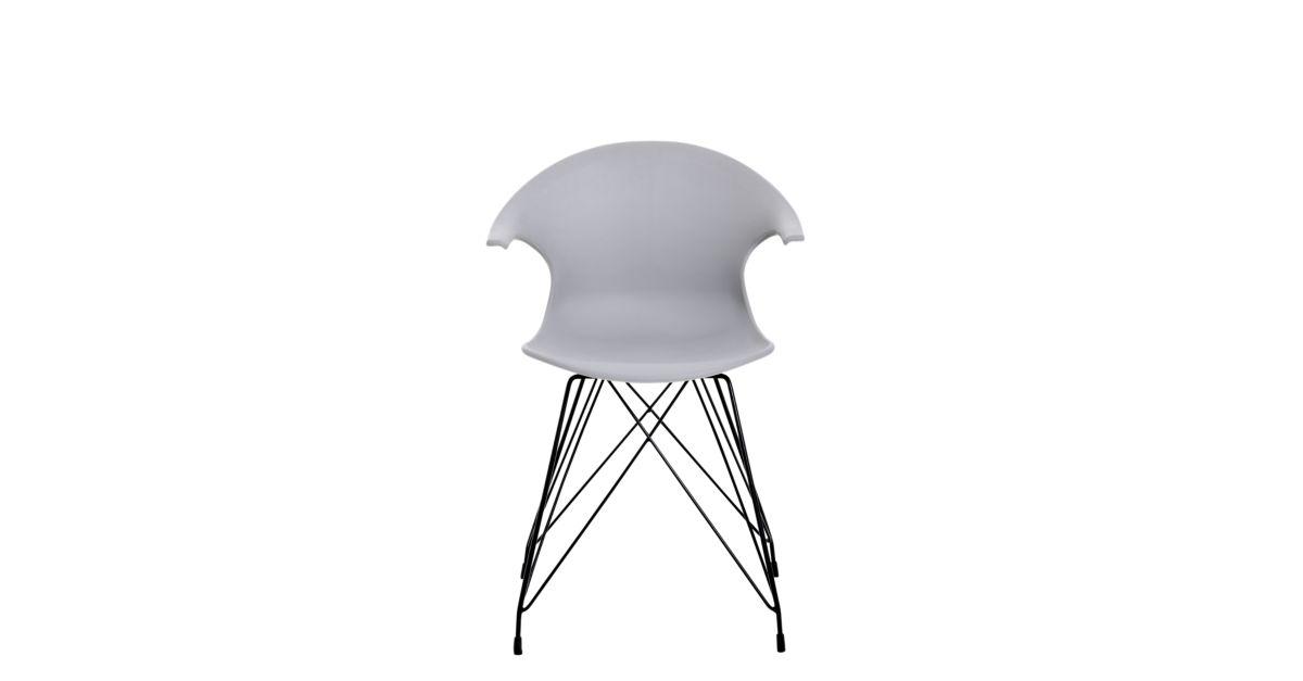 chaise coque gris clair pieds acier coloris noir fly. Black Bedroom Furniture Sets. Home Design Ideas