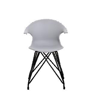 FLY-chaise coque gris clair pieds acier coloris noir