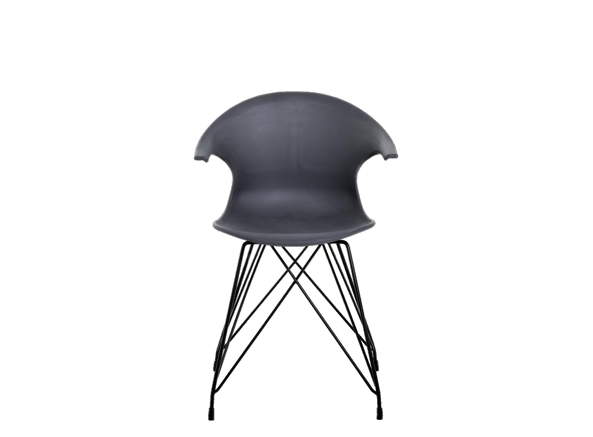 Chaise coque antrhacite pieds acier coloris noir chaise for Chaise noir fly